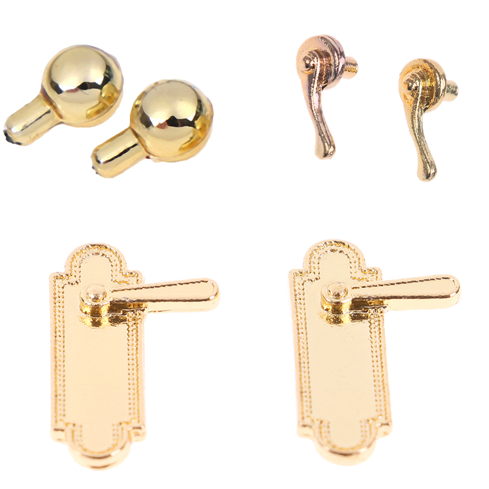 2Pcs/lot 1:12 Alloy Door Pull Handles Locks Dolls House Accessories Dollhouse Miniatures For Children Kids Toys