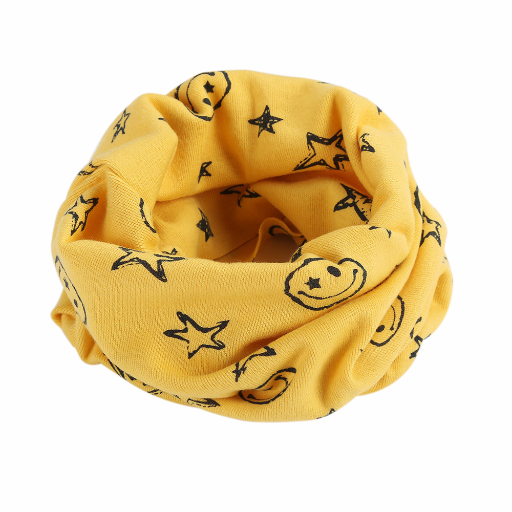 2019 New Fashion Child Snood Scarf Cotton Bibs Kids Ring Scarves Lovely Print Boys Girls Collar Children Bufandas Hats