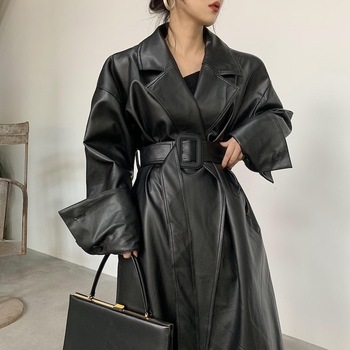 Lautaro Long oversized leather trench coat for women long sleeve lapel loose fit Fall black women plus size clothing streetwear 1