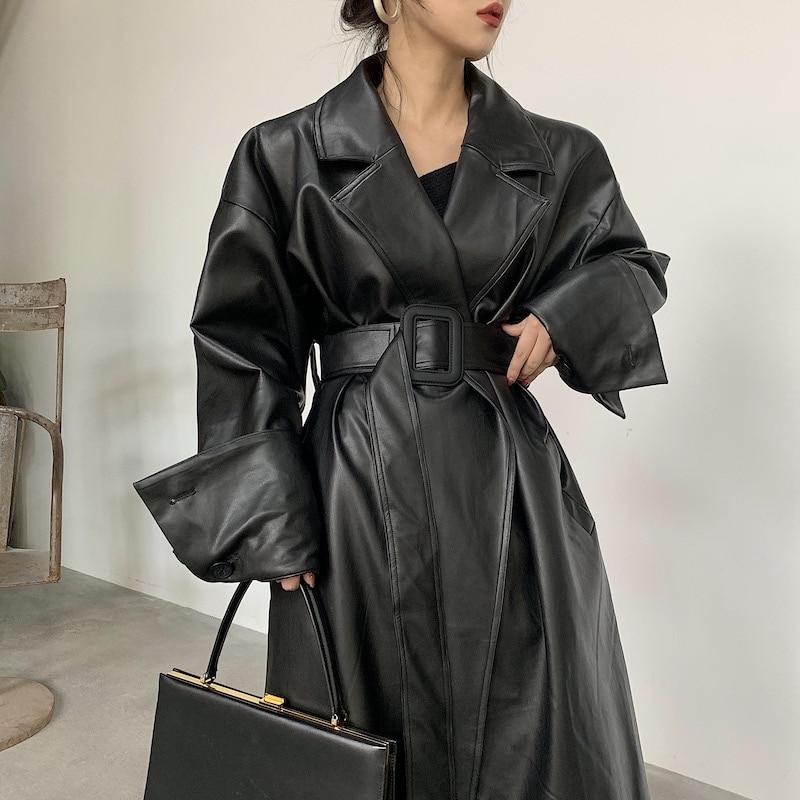 Lautaro Long oversized leather trench coat for women long sleeve lapel loose fit Fall Stylish black Innrech Market.com