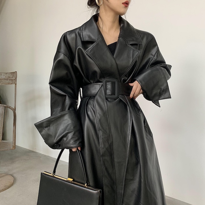 Lautaro Long oversized leather trench coat for women long sleeve lapel loose fit Fall black women plus size clothing streetwear Leather Jackets  - AliExpress