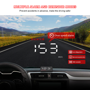 3.5 Car HUD OBD OBD2 Head Up Display Digital Speedometer Windshield Projector Fatigue Alarm Fuel Speed Gauge A1000 dfdf image