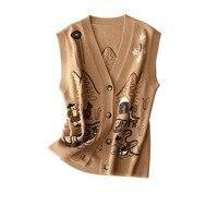 Women's Sweater Vest England Style Sleeveless Embroidery Animal V Neck Single Breasted Soft Autumn 2020 Women's Clothing