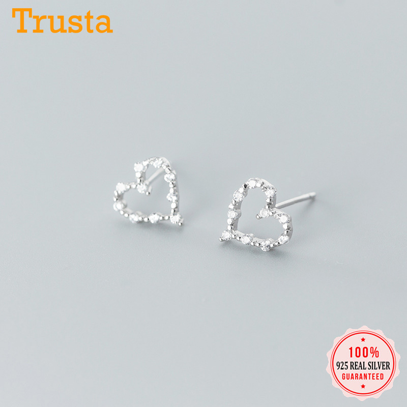 Trustdavis Minimalist Genuine Stud Earrings For Women Cute Heart Dazzling CZ 925 Sterling Silver Fashion Jewelry Gift DA658