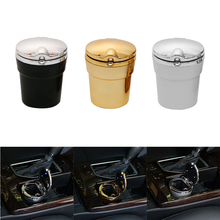 Car Smoke Cup Holder Storage Car Ashtray Cup With Lids Car Ashtray LED Blue Light Cigarette Smoke Travel Ash Cylinder tanie tanio ALLOMN Luminous Blu-ray