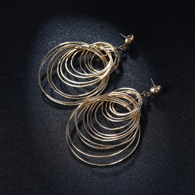 Brincos Sale Brinco Metal Golden Long Big Geometric Earrings Women In Jewelry Chain Retro Falling Overhang Summer Female 2019 in Drop Earrings from Jewelry Accessories