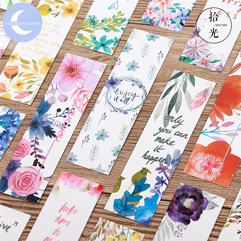 YUEGUANGXIA 30pcs/box Natural Plants Beautiful Flower Paper Bookmarks Book Holder Message Card Stationery School Office Supplies