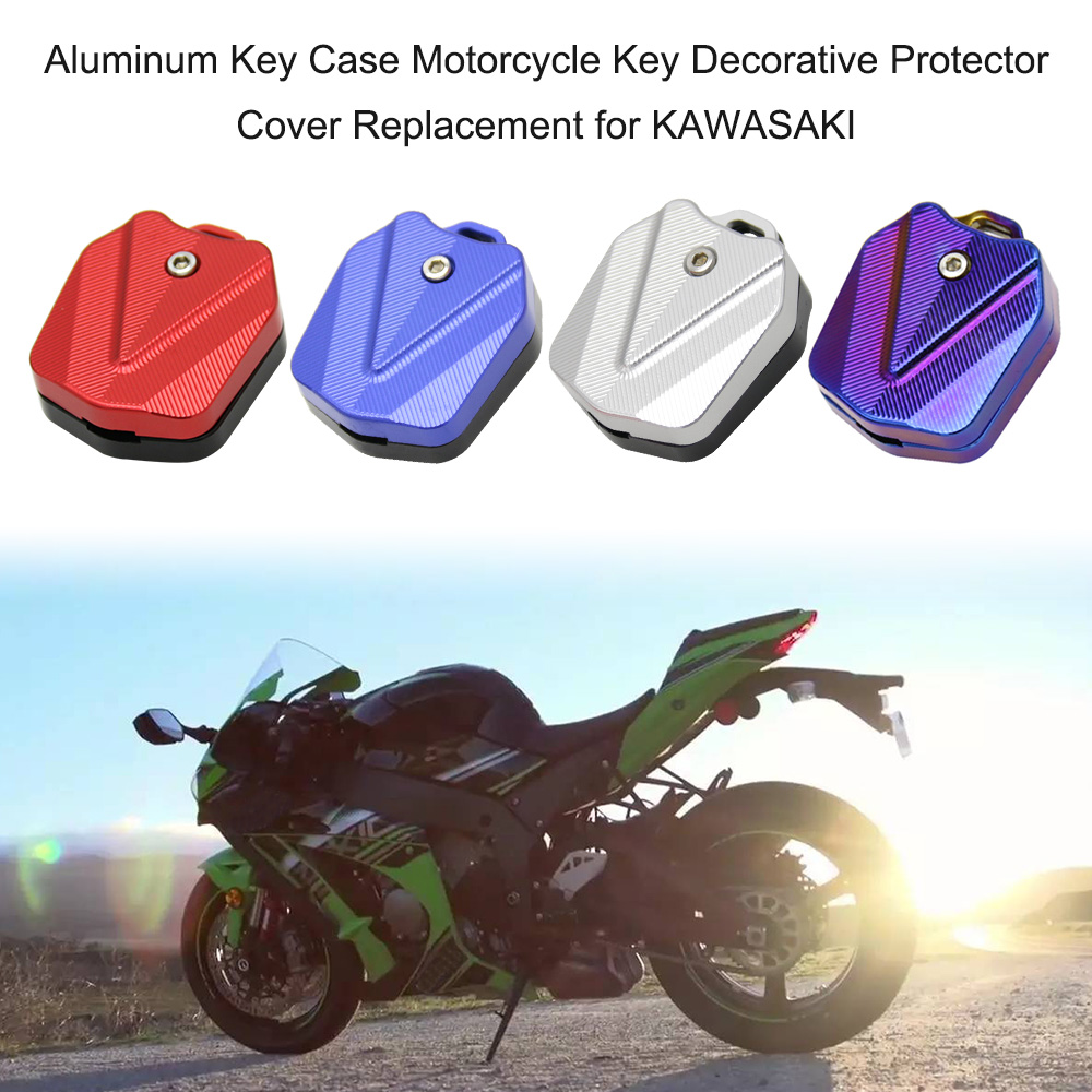 Aluminum Key Case Cover Shell Key Blade Motorcycle Key Case Decorative Protector Cover Replacement For KAWASAKI