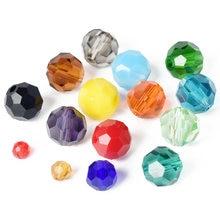 O espaçador frouxo de vidro de cristal facetado das cores contínuas 3mm 4mm 6mm 8mm da bola do corte de 32 facetas