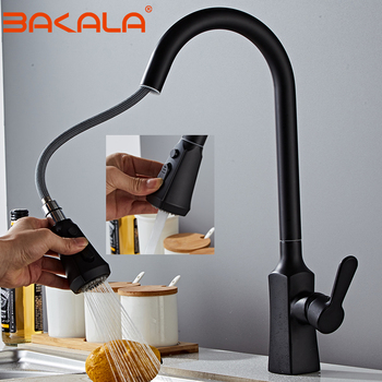 BAKALA Kitchen Faucets Silver Single Handle Pull Out Kitchen Tap Single Hole Handle Swivel 360 Degree Water Mixer Tap Mixer Tap kitchen faucets silver single handle pull out kitchen sink tap single hole handle swivel 360 degree rotation water mixer tap