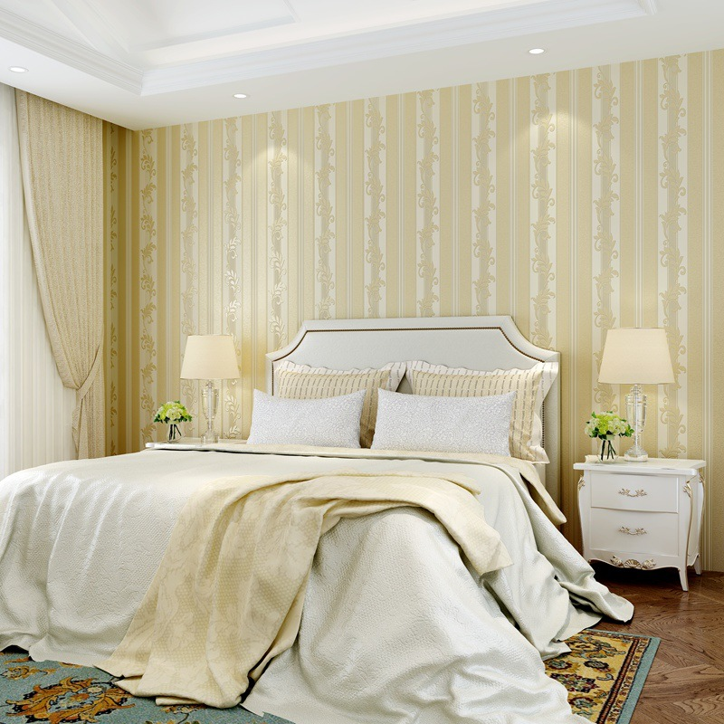 Luxury European Style Nonwoven Fabric Bedroom Wallpaper 3D Relief Vertical Striped Simple European Living Room Background Wallpa