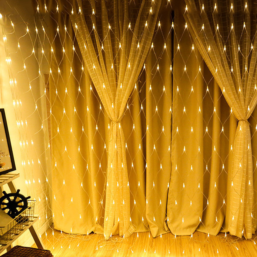 Thrisdar 1.5Mx1.5M 3Mx2M 6Mx4M LED Fishing Net Mesh Fairy String Light Christmas Party Wedding Window Curtain Garland Light