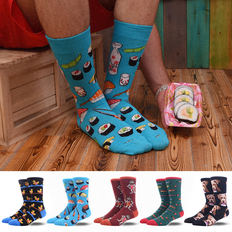Men's Happy Crew Socks Cartoon Sushi Duck Skate Funny Personality Harajuku Hip Hop Street Fashion Male Socks