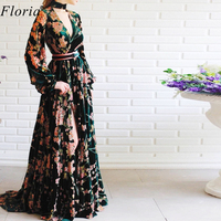 2020 Vintage Flowers Pattern Celebrity Dress Long Kaftan Couture Formal Opening Ceremony Dress Fashion Photograph Gowns Custom