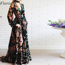 2020 kwiaty retro wzór sukienka koktajlowa długi Kaftan Couture formalna ceremonia otwarcia sukienka moda fotografia suknie niestandardowe tanie tanio Floria V-neck Długość podłogi Octan spandex Pełna Celebrity sukienki JERSEY vintage -Line REGULAR PATTERN Skrzydeł