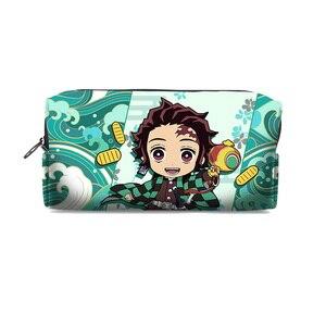 Image 3 - Kimetsu No Yaiba Demon Slayer Kamado Tanjirou Nezuko Cosplay Pen Pencil Case Cosmetic Makeup stationery Bag Gift