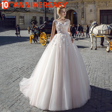 BAZIIINGAAA  Luxury Wedding Dress Silky Organza Applique V neck Backless Sleeveless Lace Wedding Dress Support Tailor made