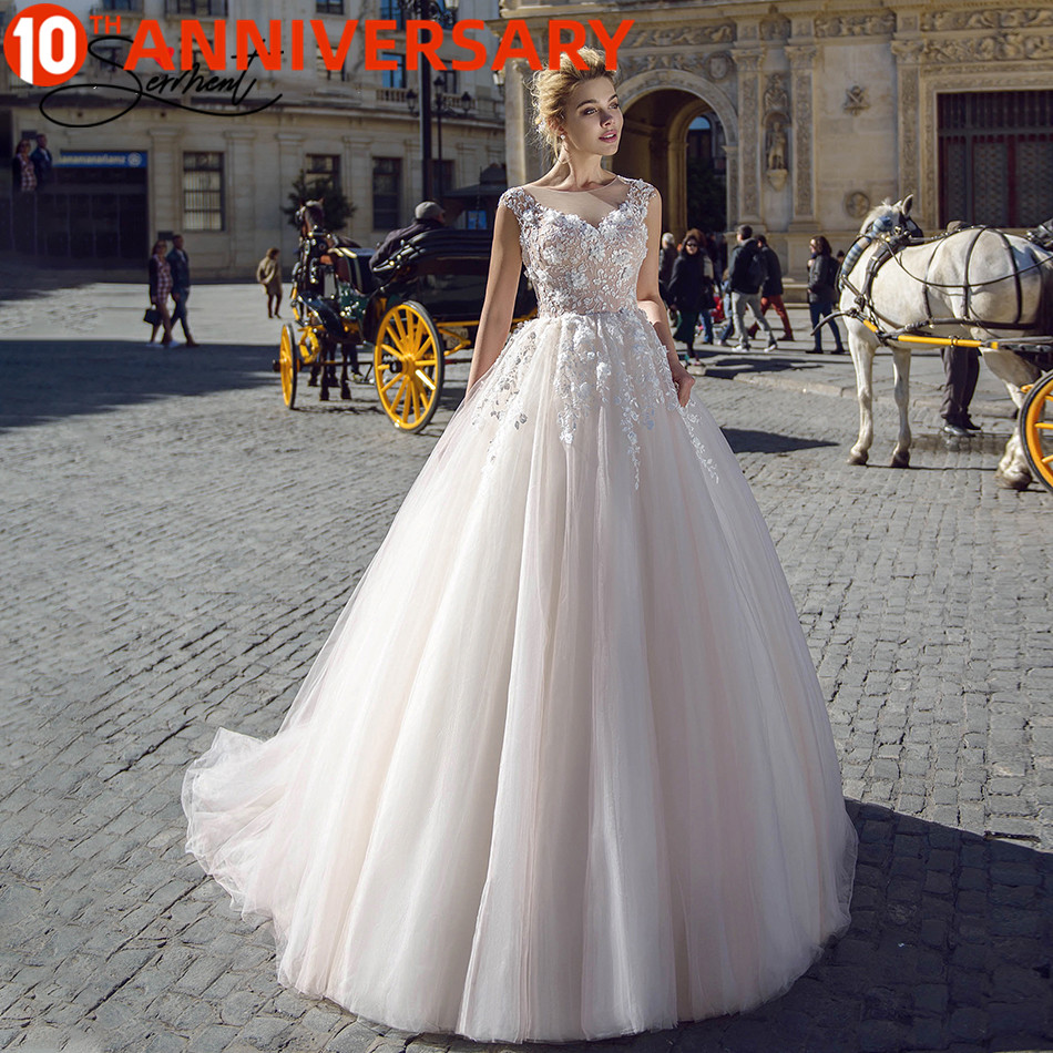 OllyMurs 2020 Luxury Wedding Dress Silky Organza Applique V neck Backless Sleeveless Lace Wedding Dress Support Tailor madeWedding Dresses   -