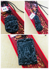 Natural Hetian Black Jade Handmade Carved Black Lotus Guanyin Pendant with Necklace Variety of Men and Women Sweater Chain(China)