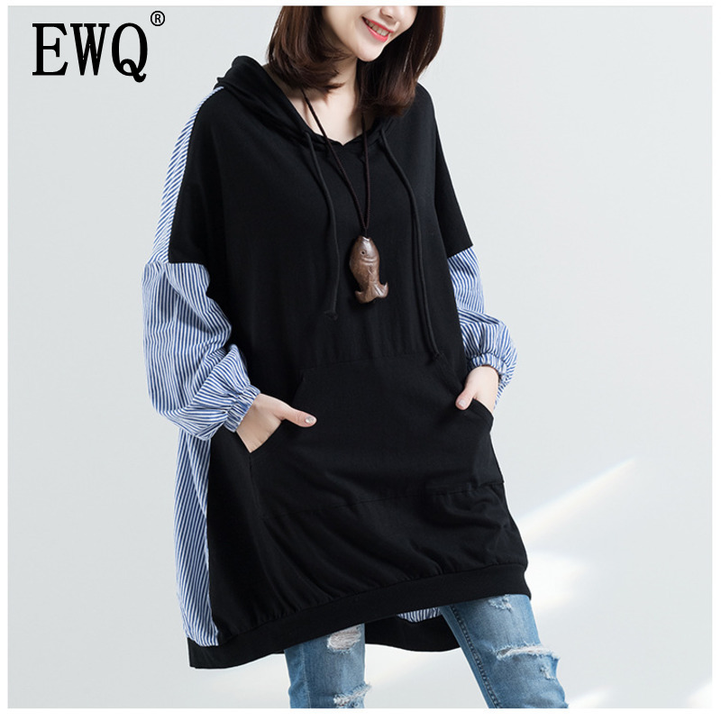 [EWQ] 2020 New Autumn Hooded Collar Striped Patchwork Black Loose Long Pullvoers Women's Sweatshirt Females Clothing AH16801XL