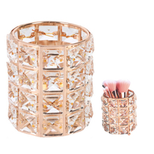 European Glitter Metal Crystal Pencil Pen Holer Brush Storage Tube Desk Organizer Stationery Container Office Accessories