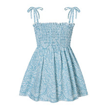 2021 Baby Girl Camisole Dress with Small Floral Print, Bow Decoration Elastic Waist Summer Clothing