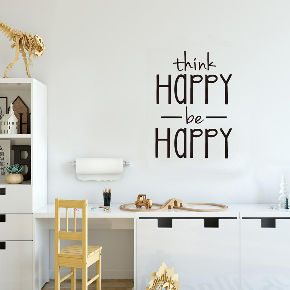Think Happy Be Happy Wall Sticker English Proverbs Home Decor Living Room Bedroom Decoration Mural Wallpaper Creative Stickers