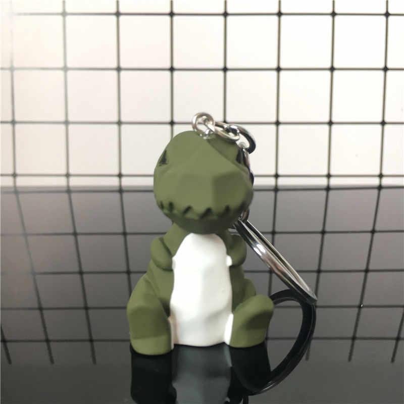 Moda de alta calidad lindo dinosaurio llavero de algodón de moda de peluche de dibujos animados PU llavero creativo bolsa de coche teléfono llavero de regalo