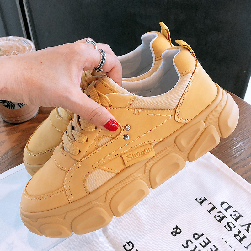 2020 Spring Women's Chunky Sneakers Basket Female Fashion Yellow White Casual Shoes Leather Woman Platform Vulcanized Shoes