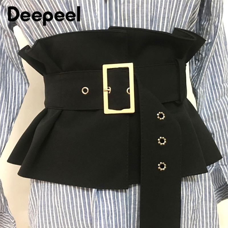 Deepeel 1pc 19*72cm Women Suede Lotus Leaf Cummerbunds Wild Girdle Pin Buckle Adjustable Wide Waist Belts Shirt Decoration CB038