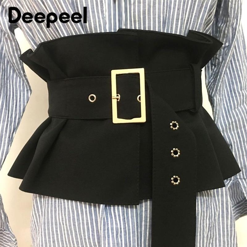 Deepeel 1pc 19*72cm Women Suede Lotus Leaf Cummerbunds Wild Girdle Pin Buckle Adjustable Wide Waist Belts Shirt Decoration CB038