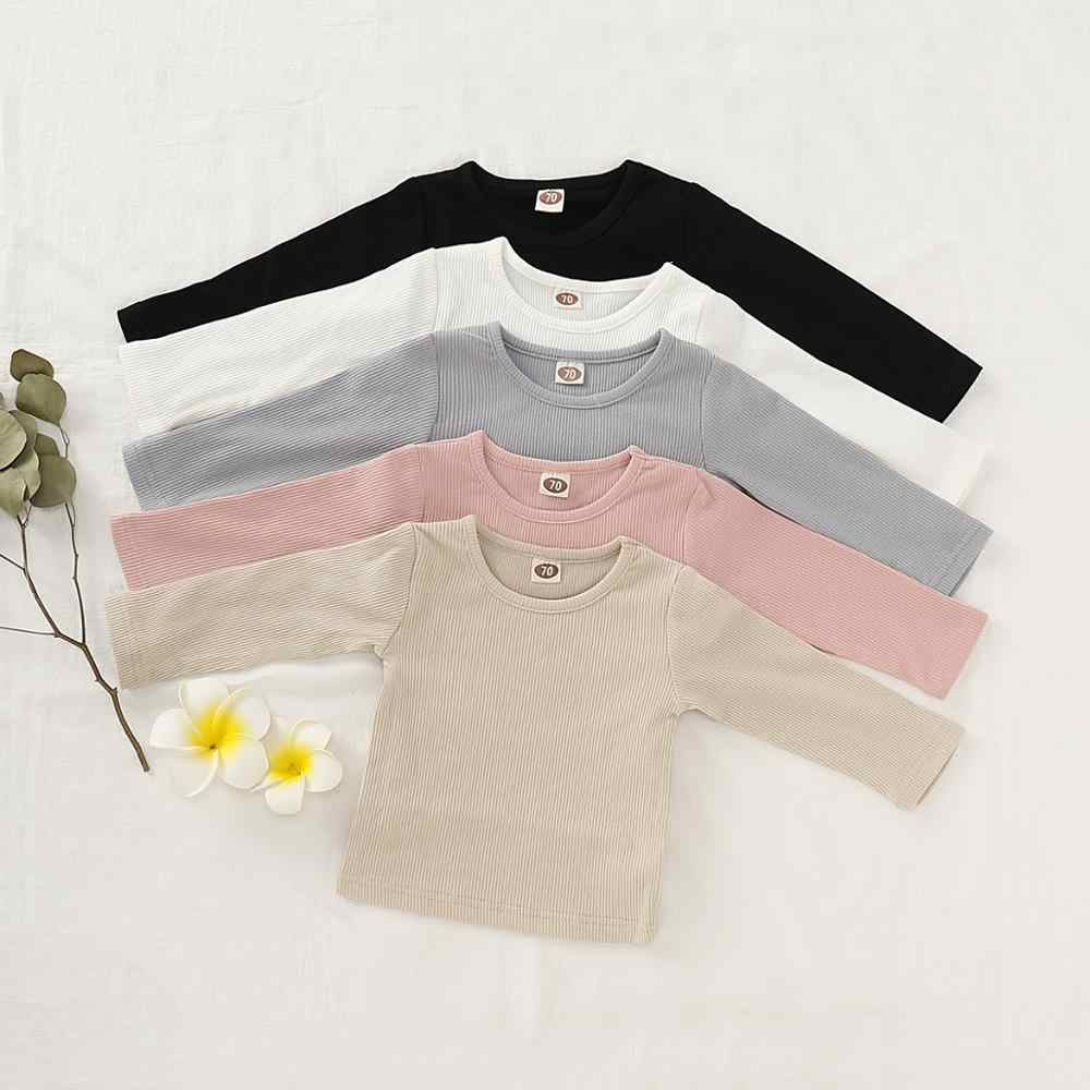 8 Newborn Baby Girls Clothes Solid Ribbed Long Sleeve T shirt