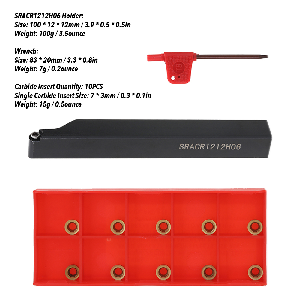 Metal SRACR1212H06 Indexable Lathe Tool 12mm Square Uses Carbide Inserts LH
