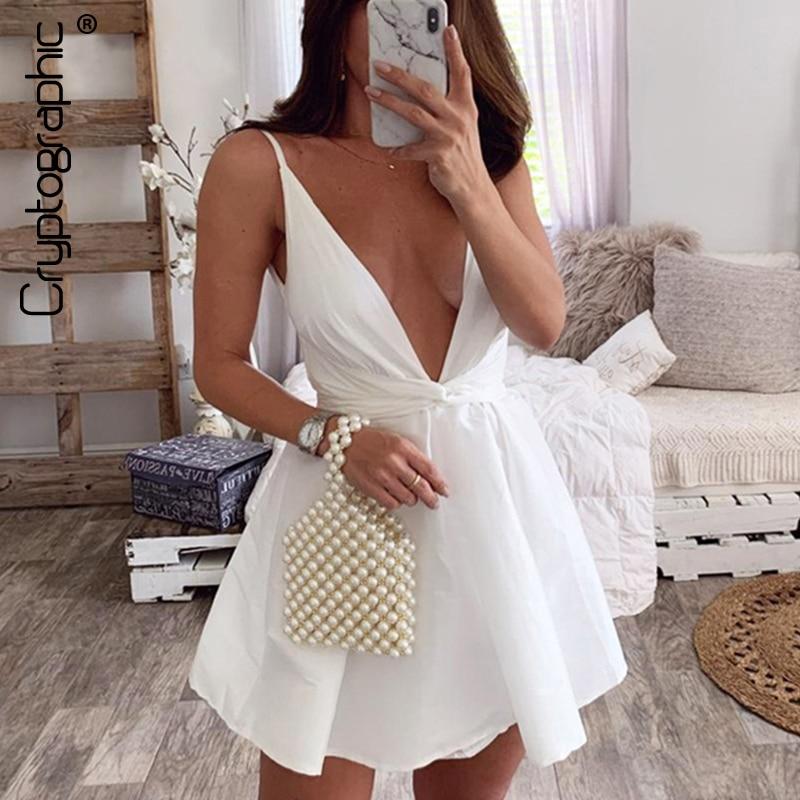 Cryptographic 2020 Summer Dresses Sleeveless Elegant Gown Sexy Dresses Party Night Club Mini Dress V-Neck Plunge Sundress