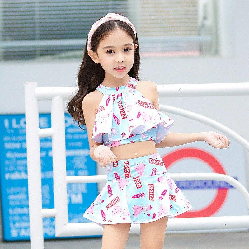 Bathing Suit GIRL'S Children Split Skirt-GIRL'S Swimsuit Female Baby South Korea Big Boy Princess Bubble Hot Spring Tour Bathing