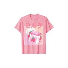 Camiseta de algodão de manga curta feminina harajuku gráfico de grandes dimensões camiseta de algodão retro bonito de 90s japão morango milk shake carton