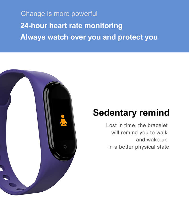 He56173c7cc7f426fb13066d8c4f13cfcU M4 New Smart Watch Men Women For Xiaomi Bracelet Heart Rate Monitor Blood Pressure Fitness Tracker Smartwatch Smart band 4