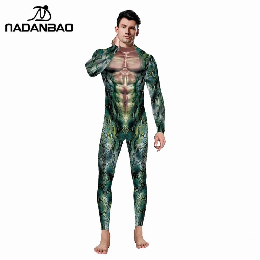 NADANBAO Funny Men Cosplay Bodysuit Snake Pattern Fashion Party Costumes Clothes Elastic Adult Rompers Horror