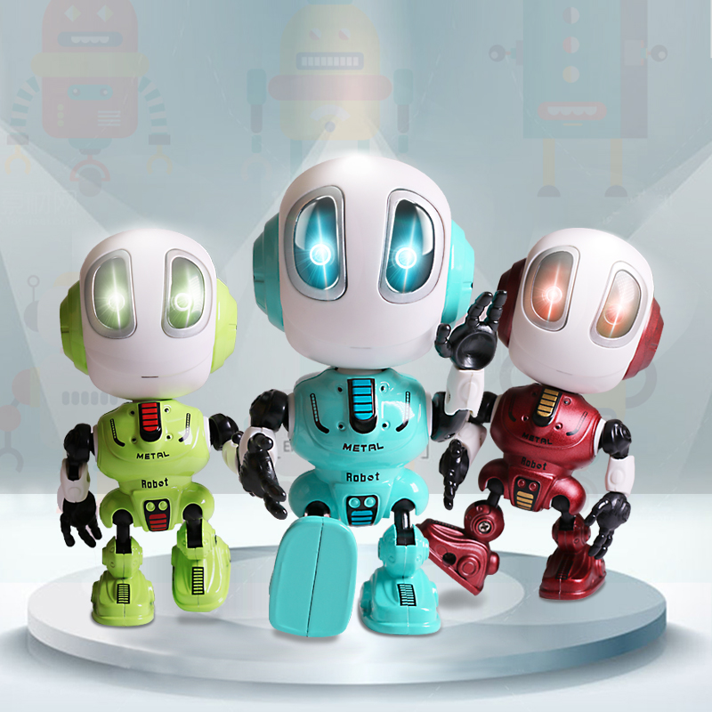 Smart Talking Robot Toys Head Touch-Sensitive Sound & Light  Alloy Robot DIY Electronic Action Figure Toys For Children Gift