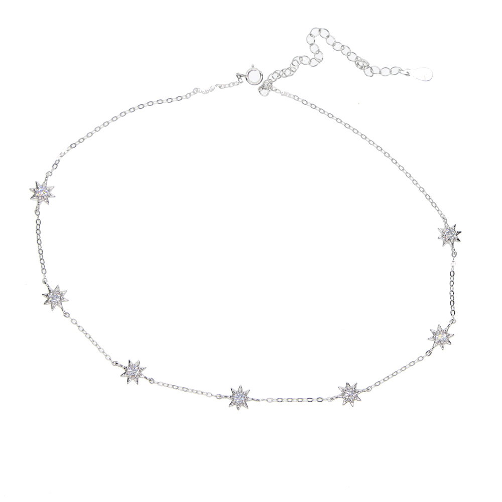 fashion gold/silver/rose gold 7pcs north stars charm chokers 925 sterling silver necklaces for women wedding lover fine jewelry