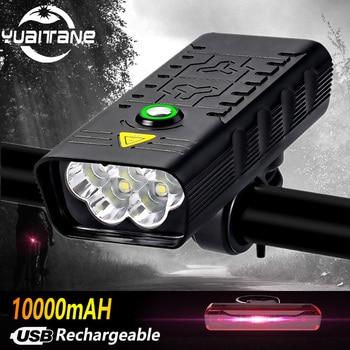 10000mah 5leds luz da bicicleta usb recarregável t6 3000lm bicicleta luz lanterna ao ar livre mtb ciclismo bicicleta accessaries como banco de potência 1