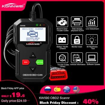 2019 OBD outil de Diagnostic KONNWEI KW590 lecteur de Code de voiture automobile OBD2 Scanner Support multi-marques voitures et langues livraison gratuite