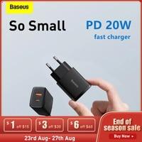 Baseus-cargador USB tipo C de 20W para móvil, dispositivo de carga rápida, portátil, para iPhone 12, 11, X, Xs, Xr, 7, AirPods, iPad Mini, UE