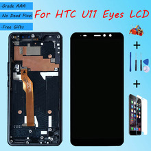 For HTC U11 Eyes LCD screen assembly with front case touch glass,For HTC 2Q4R100 LCD Display original Black Red blue
