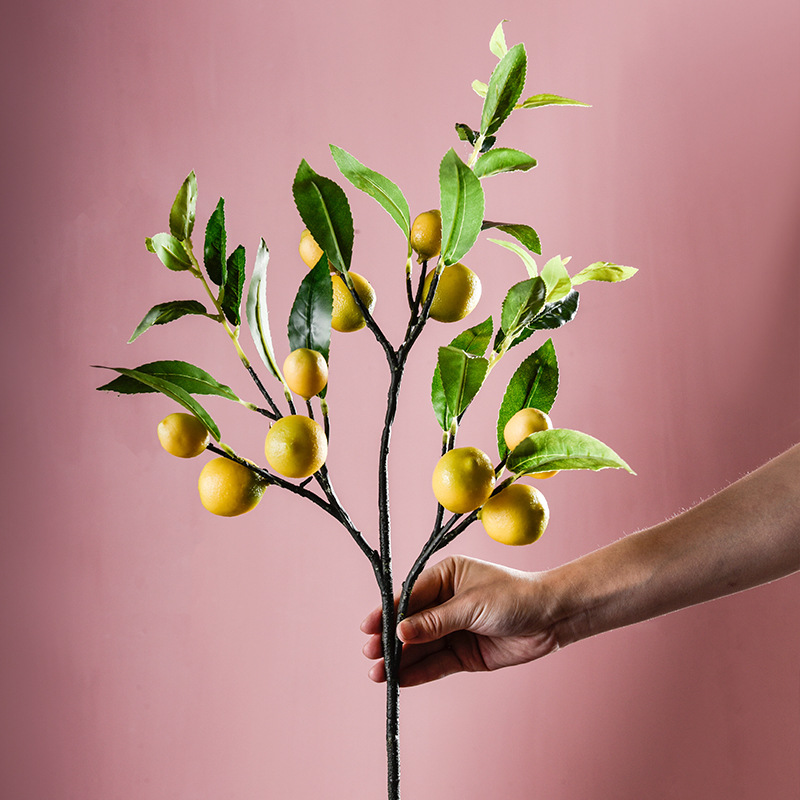 Single Simulated Fruit Fake Lemon Decor Fruit False Green Branch For Home Office Decoration Accessories Bouquet Art Craft