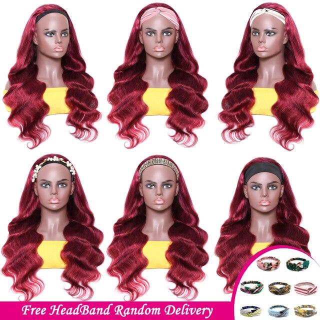 Brazylijski ciało fala pałąk peruka 99J czerwony bordowy bez kleju peruki z ludzkich włosów 150% gęstość Ali Julia Remy opaskę do włosów peruka bez żelu