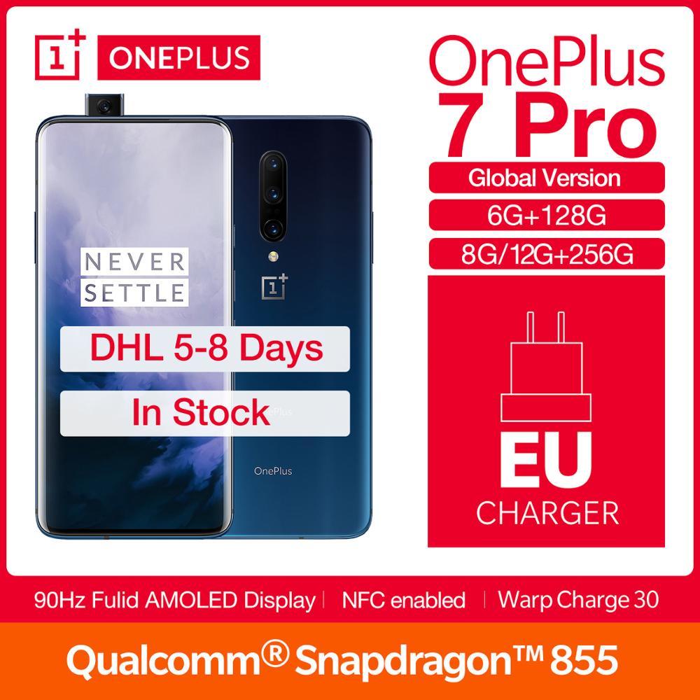 """OnePlus 7 Pro versión Global 6,67 """"90 GHz/6/8/12 GB de RAM/128/256GB ROM Snapdragon 855 48MP Smartphone NFC de reconocimiento de huellas dactilares"""