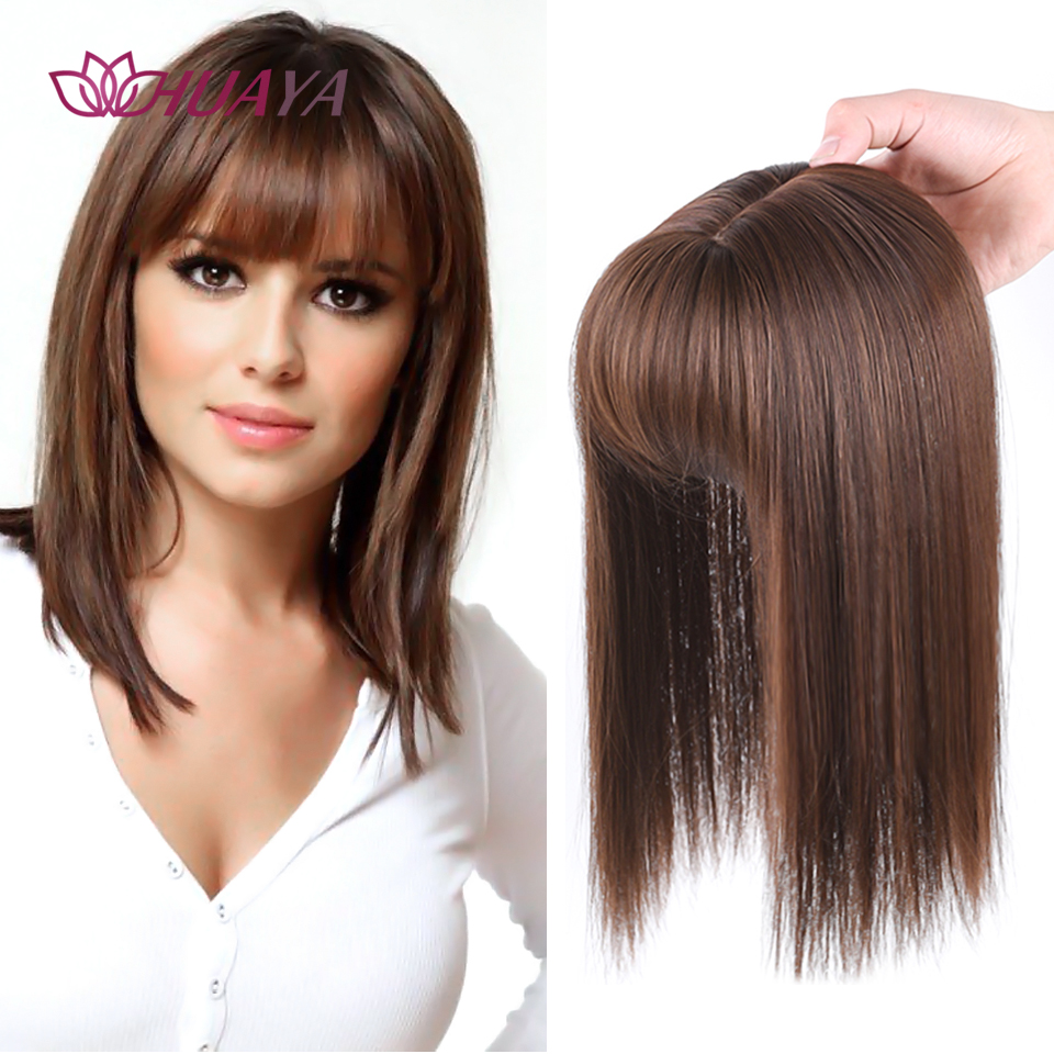 HUAYA Topper Hair Piece Invisible Seamless Long Straight Wig Bangs Clip Overhead Natural Invisible Replacement Cover White Hair