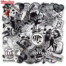 100 шт Металлические черно-белые наклейки s для ноутбука скейтборд багаж для стайлинга автомобиля домашний декор JDM крутая забавная Водонепроницаемая наклейка