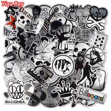 Adesivos metálicos preto e branco para laptop, adesivos engraçados para skate e bagagem, carro, decoração caseira, adesivo jdm, 100 peças